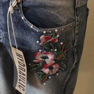 Hydraulic Shorts - Hydraulic Jean Shorts, jewels & flowers
